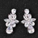Bridal Wedding Star Teardrop Cubic Zircon Zirconia Platinum Plate Stud Earrings