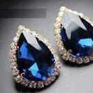 Wedding Bridal Teardrop Pear Rhinestone Clear Dangle Earrings Gold Tone Women