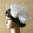 Off White Feather Veil Organza Rhinestone Acrylic Wedding Bridal Hair Fascinator