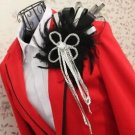 Man Boutonniere Wedding Party Prom Groom Peacock Feather Ribbon Brooch Pin