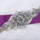 "9.5"" Long Rhinestone Faux Pearl Beaded Bridal Wedding Ribbon Sash Belt Applique"
