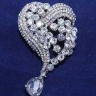 Austria Rhinestone Crystal Heart Shape Dangle Rhinestone Crystal Brooch Pin