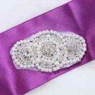 2 Pcs Vintage Style Motif Faux Pearl Rhinestone Crystal Sew On Iron Applique DIY