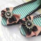 Cute Black Cameo Brown Ribbon Bow Sandals Wedding Bridal Shoe Charm Clips Pair