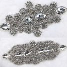 Mixed of 2 Sparkle Rhinestone Beads Flower Bridal Belt Sash Sew on Appliques