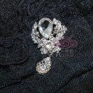 Silver Tone Clear Rhinestone Crystal Vintage Look Dangle Wedding Brooch Pin