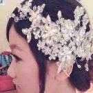 Bridal Wedding Lace Rhinestone Crystal Flower Faux Pearl Hair Clip Headpiece