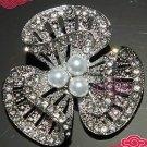 Wedding Bridal Flower Bouquet Vintage Pearl Diamante Crystal Brooch Broach Pin