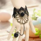 Halloween Goth Victorian Lolita Vintage Black Lace Gothic Slave Ring Bracelet