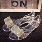 Women Silver Tone Rhinestone Crystal Wedding Bridal Shoe Clips Pair