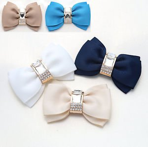 Women High Heel Fashion Bow Shoe Clips Decoration Jewelry Charms Pair