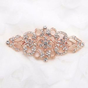 Wedding Bridal Dress Sash Vintage Style Rose Gold Brooch Pin Jewelry