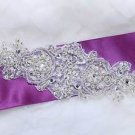 "7"" Vintage Snow Snowflake Wedding Sash Beaded Pearl Belt Iron Sew Applique"
