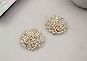 Ivory Pearl Gold Tone Rhinestone Crystal Wedding Bridal Shoe Clips Pair