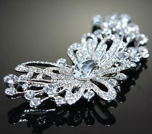 Wedding Bridal Flower Rhinestone Crystal Sash Hair Craft Brooch Pin