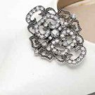 A Pair Vintage Style Diamante Dark Silver Rhinestone Crystal Shoe Clips Charms