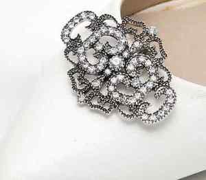 A Pair Vintage Style Diamante Dark Silver Rhinestone Crystal Shoe Clips Charms