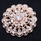 Rose Gold Tone Rhinestone Crystal Flower Wedding Cake Sash Brooch Pin