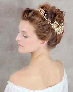 Gold Tone Faux Pearl Vintage Leaf Wedding Bridal Hair Tiara Headpiece