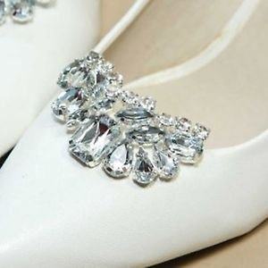 Bridal Wedding Prom Rhinestone Crescent Moon Silver Shoe Clip Accessory Pair