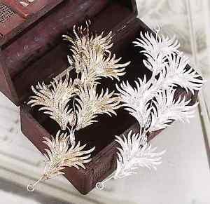 Bridal Wedding Rhinestone Crystal Gold/Silver Hair Tiara Feather Leaf Headpiece