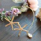 Starfish Beach Wedding Crystal Gold Dangle Teardrop Hair Headpiece Accessories