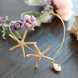 Starfish Beach Wedding Crystal Gold Dangle Teardrop Hair Headpiece Accessories