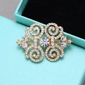Vintage Style Gold Rhinestone Crystal Metal Closure Wedding Sweater Clasp