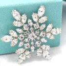 Rhinestone Crystal Bridal Wedding Snowflake Snow Flower Bouquet Cake Brooch Pin