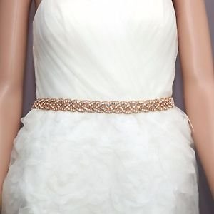 Bridal Wedding Dress Applique Trim Rose Gold Beads Rhinestone Crystal Sash Belt