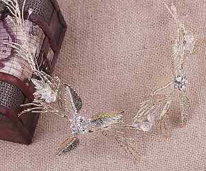 Vintage Style Wedding Bridal Leaf Flower Crystal Gold Tiara Headpiece Hair Piece