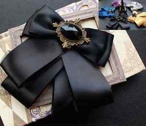 Classic Vintage Mens Womens Clip Pin On Bow Tie Pre Tied Plain Bowtie
