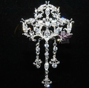 Vintage Style Wedding Bridal Rhinestone Crystal Dangle Brooch Pin Jewelry