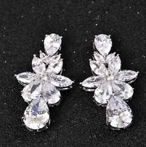 Luxury Women Ladies CZ Earrings Teardrop Ear Studs Charm Wedding Jewelry