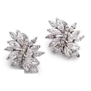 Wedding Princess Cut CZ Cubic Zirconia Platinum Plated Ear Earrings