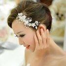 Wedding Bridal Faux Pearl Flower Silver Tone Rhinestone Crystal Hair Comb