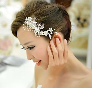 Wedding Bridal Faux Pearl Flower Silver Tone Rhinestone Crystal Hair Comb