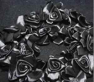 New Black Handmade Organza Pleated Trim Elastic Lace Ruffle Flower Doll 1 Yard