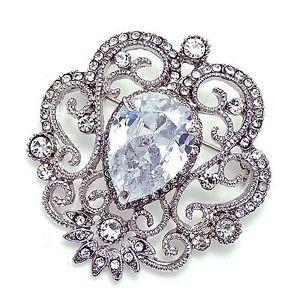 Clear Aurora Rhinestone Crystal Wedding Cake Sash Brooch Pin Jewelry Accessories