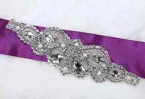 3 Pieces Vintage Wedding Sash Beaded Glass Rhinestone Crystal Pearl Applique
