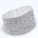 Stretchable Elastic Rhinestone Bangle  Girls Wedding 11 Rows