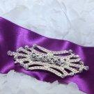 Wedding Bridal Sash Belt Rhinestone Crystal Vintage Style Buckle Brooch Pin
