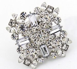 Wedding Bridal Rhinestone Crystal Rhombus Sqaure Sash Cake Brooch Pin