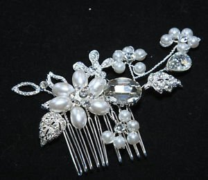Wedding Bridal Faux Pearl Rhinestone Crystal Flower Leaf Hair Comb Headpiece