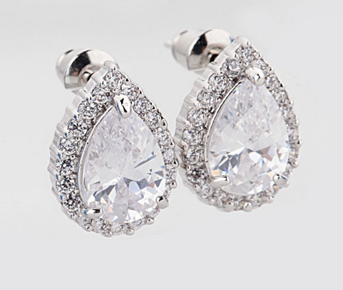 Platinum Plate Wedding CZ Teardrop Crystal Cubic Zirconia Stud Earrings