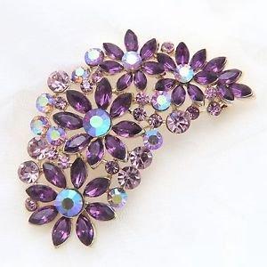 Aurora Purple Rhinestone Gold Base Flower Alloy Brooch Pin
