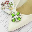 Color Shoe Clips Rhinestone Crystal Fashion Shoe Charms Pair Green Red Yellow