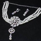 Wedding Bridal Rhinestone Crystal Faux Pearl Necklace Earrings Jewelry Set