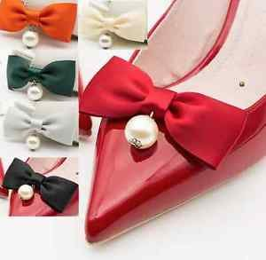 Black Ivory Red Green Grey Bow Faux Pearl Ball Wedding Bridal Shoe Clips Pair