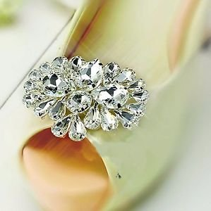 Wedding Bridal Prom Pageant Rhinestone Crystal Women Shoe Charms Clips Pair